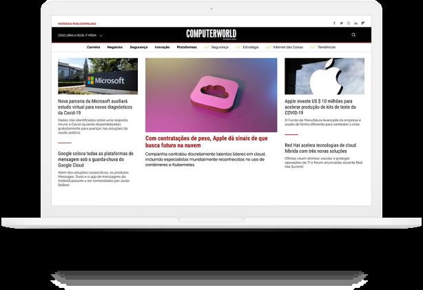 Notebook mostrando o site 'ComputerWorld'